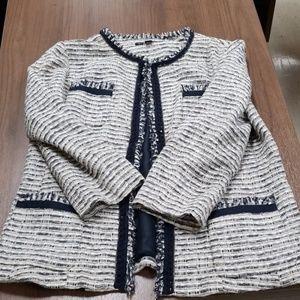 Lafayette 148 tweed jacket navy/white